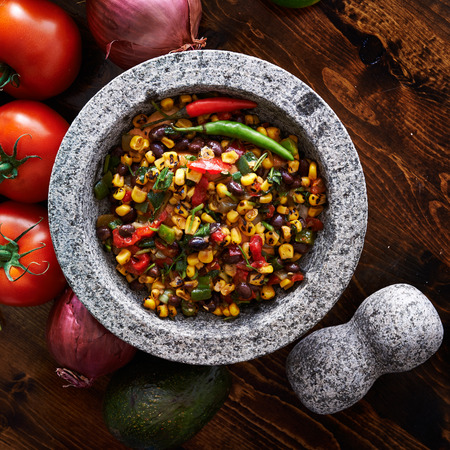 spicy fire roasted black bean and corn salsa top down photo