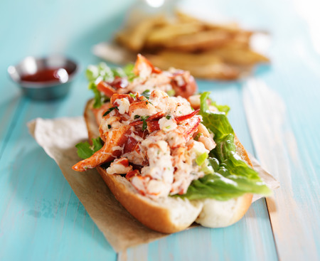 lobster: lobster roll on colorful retro painted wooden planks