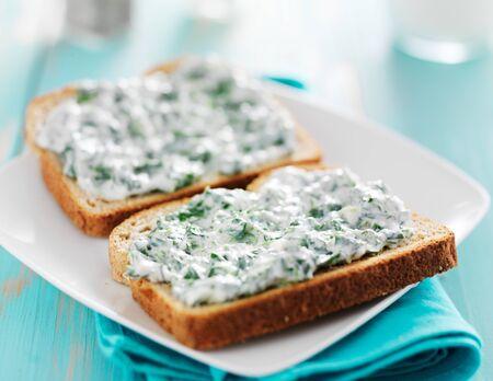 dips: spinach cream toast Stock Photo