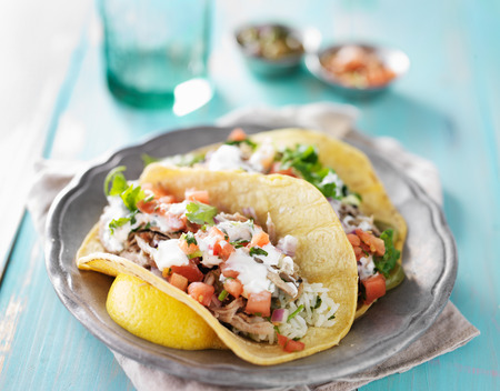 mexican food: authentic mexican carnitas tacos