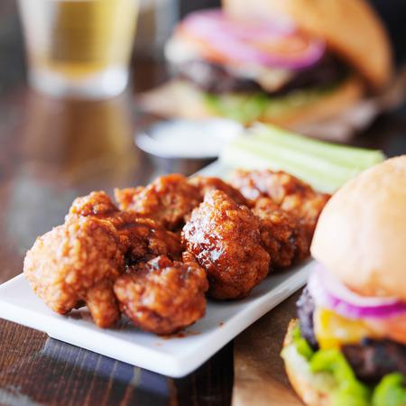 boneless: barbecue boneless wings and hamburgers