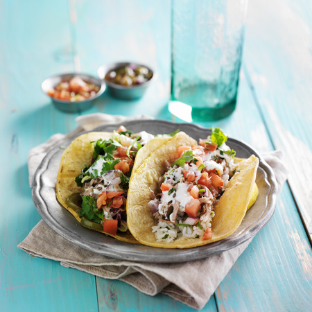 mexican carnitas authentic tacos with cilantro, sourcream and salsa