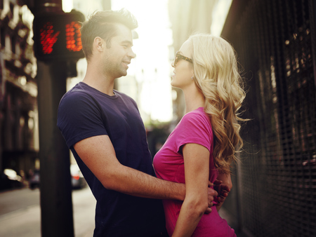 romantic couple on los angeles street