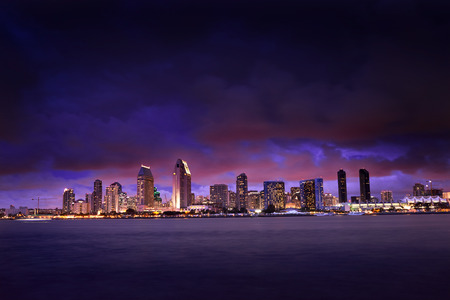 night time: colorful night time cityscape of san diego skyline