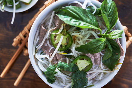 overhead photo of vietnamese pho Stock Photo