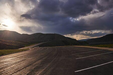 utah road by echo reservoir at sunset