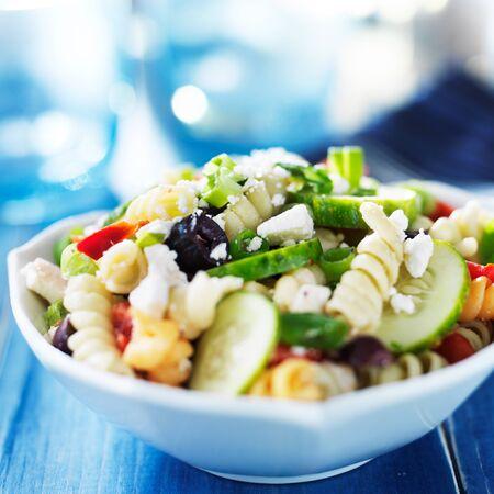pasta salad: rainbow rotina pasta salad in greek style