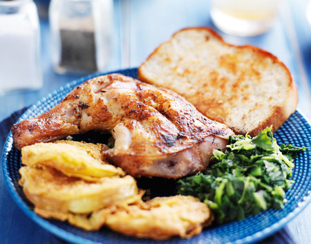 soul food: southern soul food meal with chicken and traditional fixings