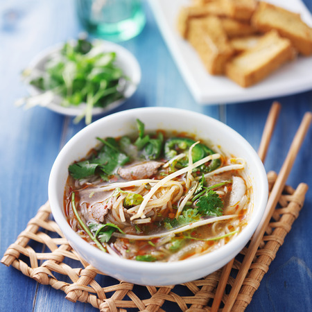 asian noodle: vietnamese traditional pho beef soup