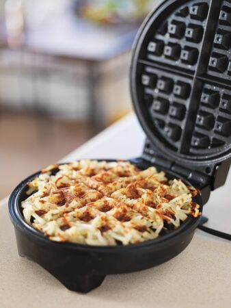 hashbrown: hash browns made in waffle maker kitchen hack