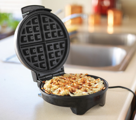 browns: hash browns made in waffle maker kitchen hack