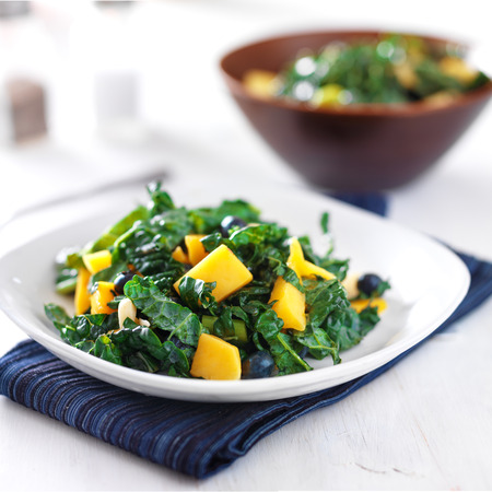 mango blueberry and kale salad on white plate Stock Photo