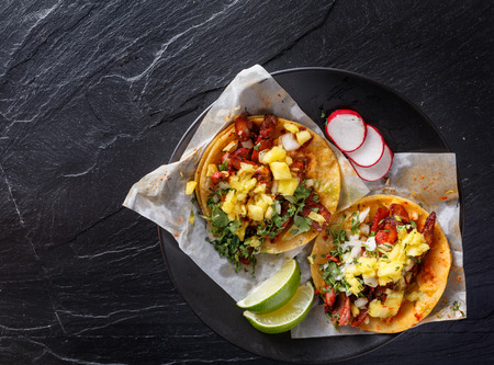 salsa: mexican al pastor street tacos shot from overhead
