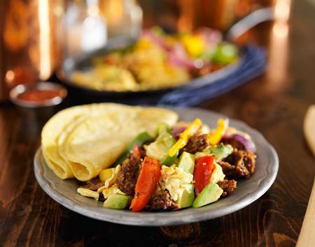 yellow corn: mexican breakfast - chorizo scrambled eggs with yellow corn tortillas