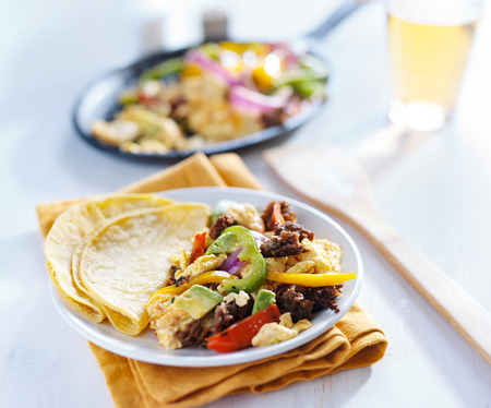 chorizo: mexican chorizo scrambled eggs with corn tortilla