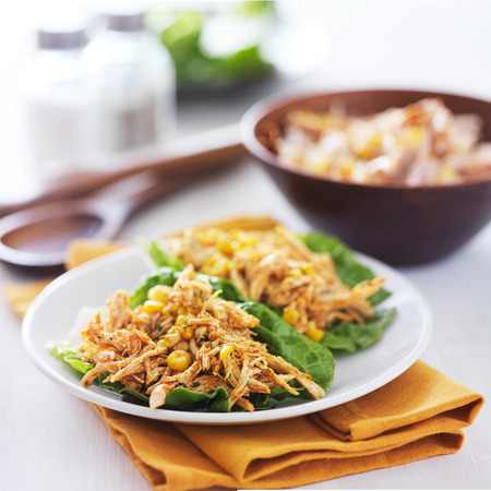 asian chicken lettuce wraps with corn and mexican seasonings