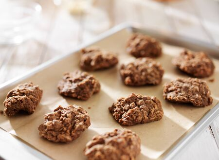 cookie sheet: no bake chocolate cookies on tray