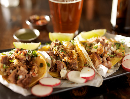 tacos: beer and mexican street tacos with radish