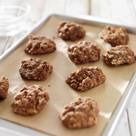 いいえ焼くクッキーのベーキング シート 写真素材
