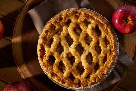 top down: apple pie with lattice from top down overhead view