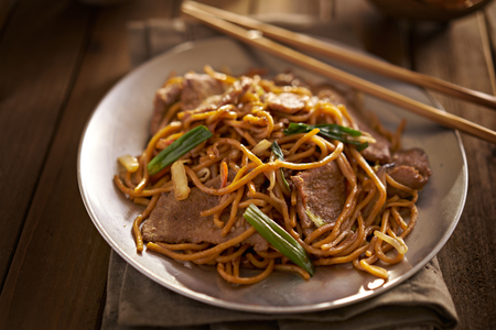 lo mein: beef lo mein close up photo