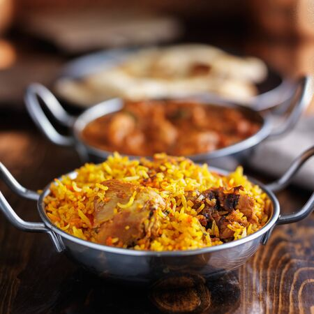 biryani: imdian food - chicken biryani in balti dish Stock Photo
