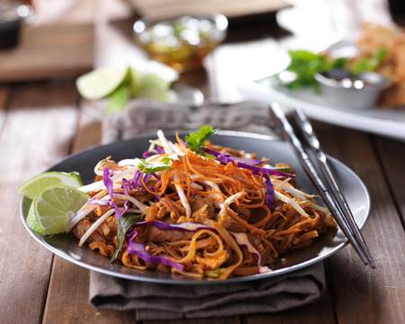 stir: tasty pad thai stir fry with beef and colorful garnish
