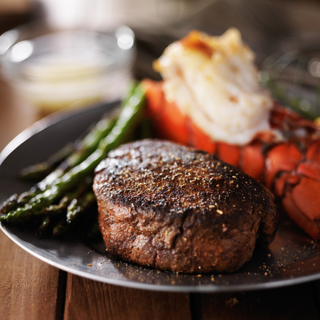 lobster tail: lobster tail and filet mignon dinner with asparagus