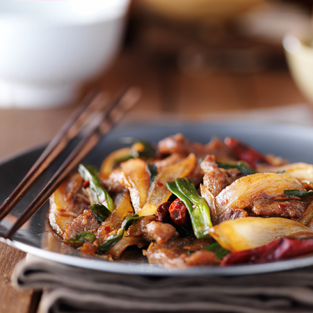 plate: chinese mongolian beef stir fry on plate