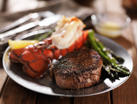 lobster tail: filet mignon steak and lobster tail with asparagus