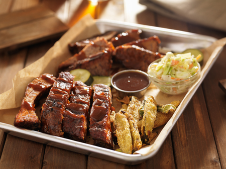 barbecue ribs with brisket, fried okrra and slaw