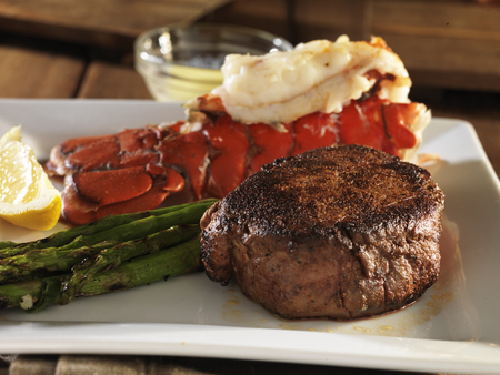 lobster dinner: filet mignon steak with lobster tail surf and turf meal