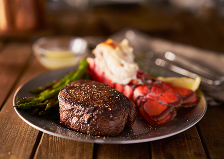 filet mignon steak with lobster tail surf and turf meal