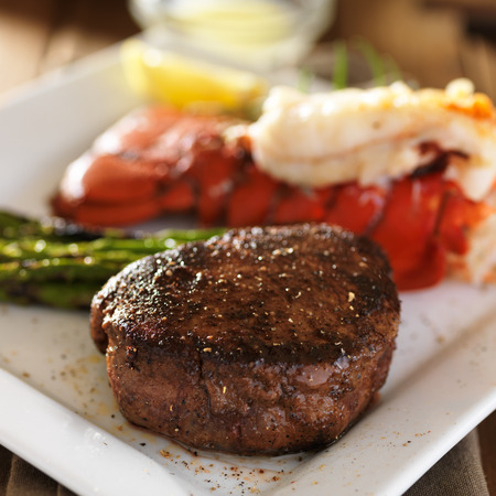 filet mignon abd tasty lobster tail close up