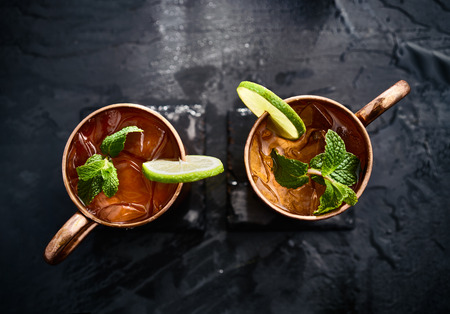 mules: two moscow mules shot in flat lay composition