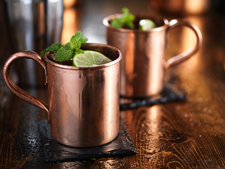 mules: moscow mules in copper cups with mint and limes