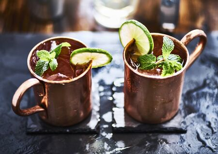 mules: two moscow mules shot close up