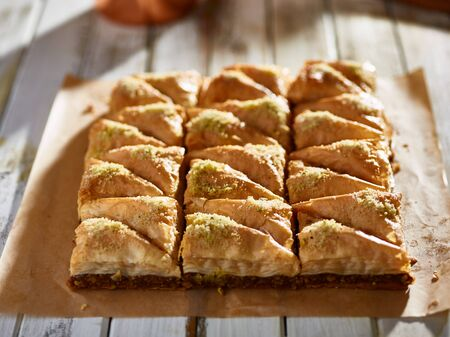 dozen: freshly made two dozen batch of baklava