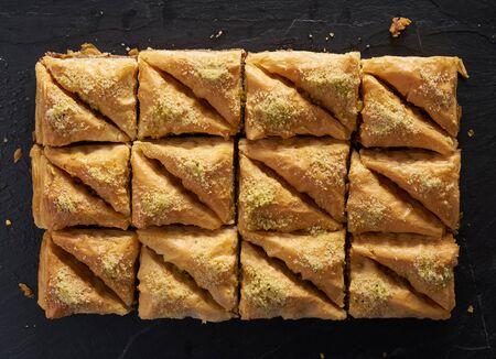 baklava: two dozen baklava in flat lay composition