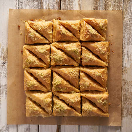 dozen: two dozen baklava in flat lay composition