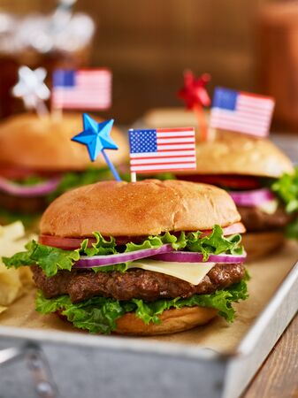 patriotic themed burgers with american flags