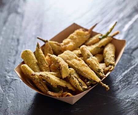 soul food: crispy fried okra in container