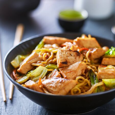 bowl of japanese chicken yakisoba