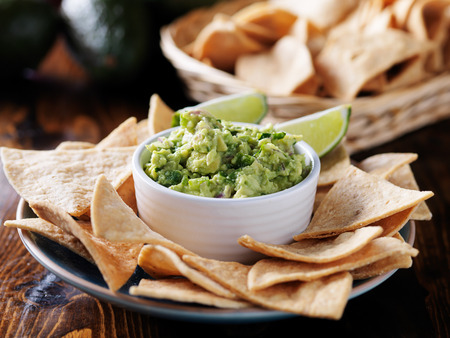 tortilla chips: fresh mexican guacamole and tortilla chips