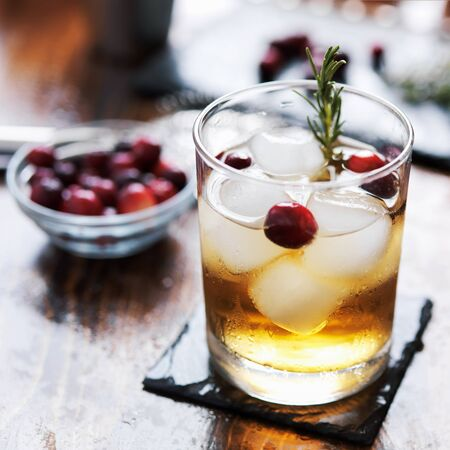 ginger cranberry cocktail with rosemary