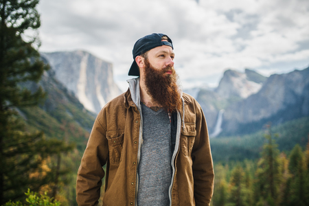 bearded guy in coat at yosemite