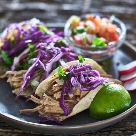 실 란 트로와 붉은 양배추와 세 멕시코 carnitas 거리 타코의 화려한 접시 스톡 콘텐츠