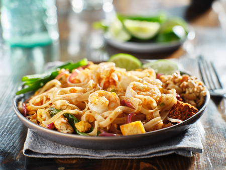 pad thai with shrimp on plate