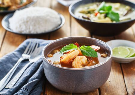 thai tom yum goong soup with shrimp in bowl