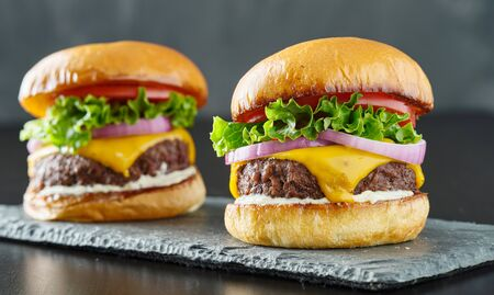 two beefy cheeseburgers with american cheese, lettuce tomato and onion